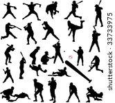 baseball silhouettes   vector | Shutterstock .eps vector #33733975