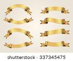 ribbon banner set.golden... | Shutterstock .eps vector #337345475