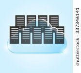 server room towers on cloud.... | Shutterstock .eps vector #337346141