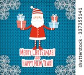 santa on knit background.... | Shutterstock .eps vector #337355141