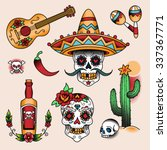 Mexican Symbols. Set Of  Color...