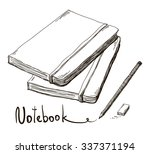 sketch of notebook with pencil... | Shutterstock .eps vector #337371194
