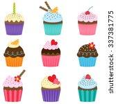 vector set of nine different... | Shutterstock .eps vector #337381775