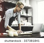 craftsman browsing laptop... | Shutterstock . vector #337381841