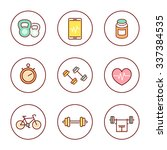 line fitness  gym colored icons