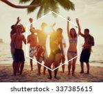 hexagon frame holiday summer... | Shutterstock . vector #337385615