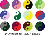 yin yang symbol  in multi color ...
