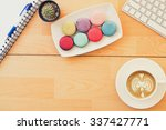 latte coffee with macarons on... | Shutterstock . vector #337427771