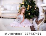 beautiful baby sitting on the... | Shutterstock . vector #337437491