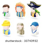 An avatar people web or internet icon set series. Includes a doctor, native American, pirate, builder or construction worker or engineer, a mummy and a cricket player, sports man. - stock vector