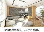 grey living room 3d rendering  | Shutterstock . vector #337445087