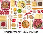 italian food ingredients on... | Shutterstock . vector #337447385