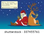 santa claus and reindeer sit on ... | Shutterstock .eps vector #337455761