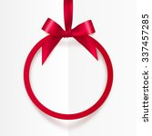 bright holiday red round frame... | Shutterstock .eps vector #337457285