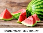 Fresh sliced watermelon wooden...