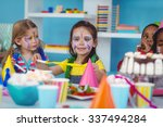 happy kids celebrating a... | Shutterstock . vector #337494284
