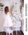 beautiful little girl back to... | Shutterstock . vector #337494851
