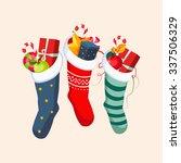 christmas socks with presents.... | Shutterstock .eps vector #337506329
