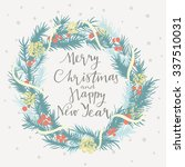 merry christmas and happy new... | Shutterstock .eps vector #337510031