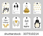 Collection of eight gold texture Christmas and New Year cute ready-to-use gift tags. Set of 8 printable hand drawn holiday label in black white and gold. Vector seasonal badge design