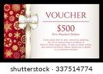 luxury christmas voucher with... | Shutterstock .eps vector #337514774
