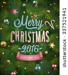 christmas poster with fir tree... | Shutterstock .eps vector #337521941
