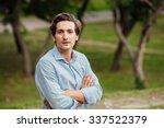 portrait of a man in blue shirt ... | Shutterstock . vector #337522379