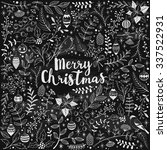 hand drawn christmas card on... | Shutterstock .eps vector #337522931