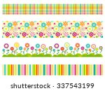 Set Of Seamless Flower Pattern...