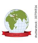 lebanon  position on the globe | Shutterstock .eps vector #33754516