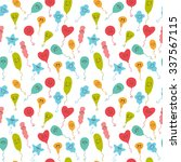 seamless pattern with happy... | Shutterstock .eps vector #337567115
