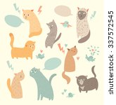 cute cats  vintage color ... | Shutterstock .eps vector #337572545