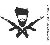 man in turban two crossed ak 47 ... | Shutterstock .eps vector #337589075