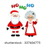 santa and mrs claus standing... | Shutterstock .eps vector #337606775