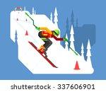 slalom downhill skiing. sport... | Shutterstock .eps vector #337606901