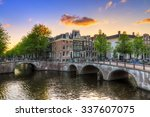 Stock photo beautiful sunset at the emperors canal keizersgracht and leidse canal in amsterdam in spring 337607075