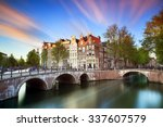 Stock photo beautiful sunset at the emperors canal keizersgracht and leidse canal in amsterdam in spring 337607579