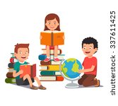 group of kids studying and... | Shutterstock .eps vector #337611425