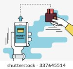 man is sending money from... | Shutterstock .eps vector #337645514