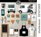 vector food truck corporate... | Shutterstock .eps vector #337671005