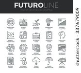 Modern thin line icons set of business economic development, financial growth. Premium quality outline symbol collection. Simple mono linear pictogram pack. Stroke vector logo concept for web graphics | Shutterstock vector #337679009
