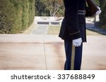Small photo of ARLINGTON, VA - SEPT 11, 2015: One of the sentinels from the 3rd U.S. Infantry Regiment maintaining a 24-hour, 365 days a year vigil at the Tomb of the Unknown Soldier in Arlington National Cemetery.