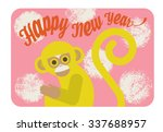 chinese new year card with cute ... | Shutterstock .eps vector #337688957