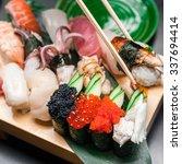 premium quality sushi rolls... | Shutterstock . vector #337694414