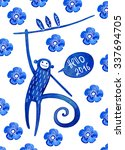 blue monkey. chinese zodiac... | Shutterstock . vector #337694705