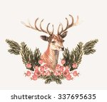 watercolor christmas holiday... | Shutterstock . vector #337695635