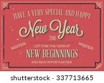 retro vintage happy new year... | Shutterstock .eps vector #337713665