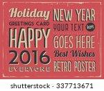 retro vintage happy new year... | Shutterstock .eps vector #337713671