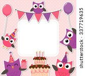 vector birthday party card with ... | Shutterstock .eps vector #337719635