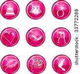 Nine Hot pink glossy wedding web icons. - stock vector
